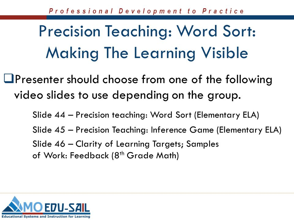 Precision Teaching: Word Sort: Making The Learning Visible