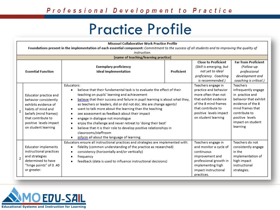 Practice Profile Share the Practice Profile. Discuss the contents of the practice profile in terms of the video that was shared.