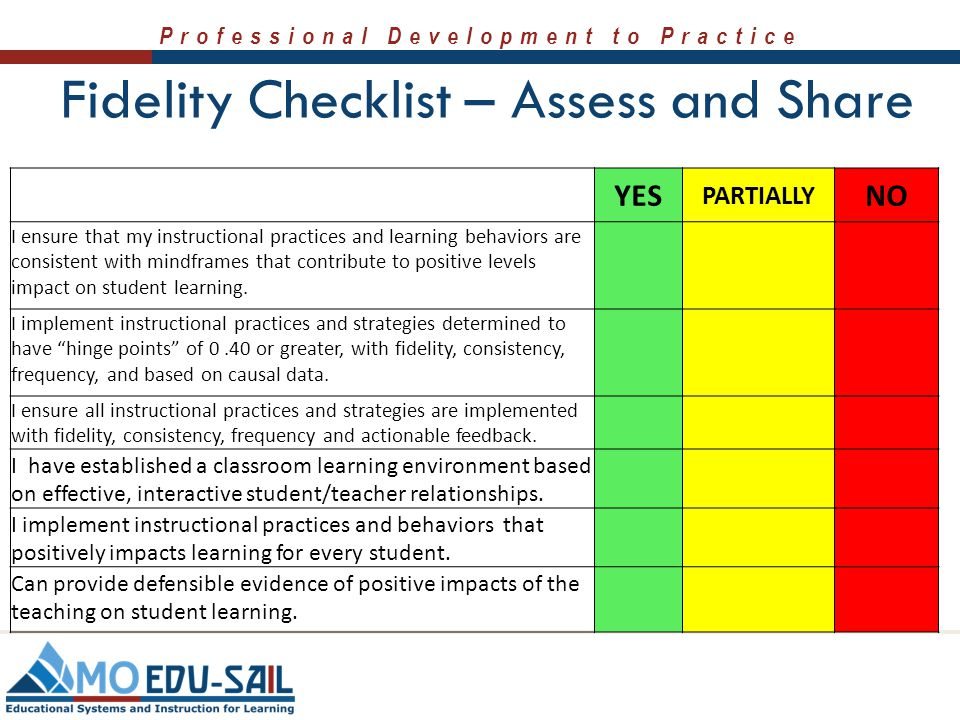Fidelity Checklist – Assess and Share
