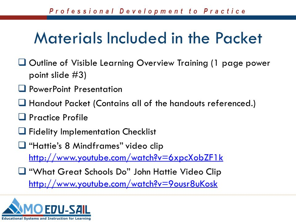 Materials Included in the Packet