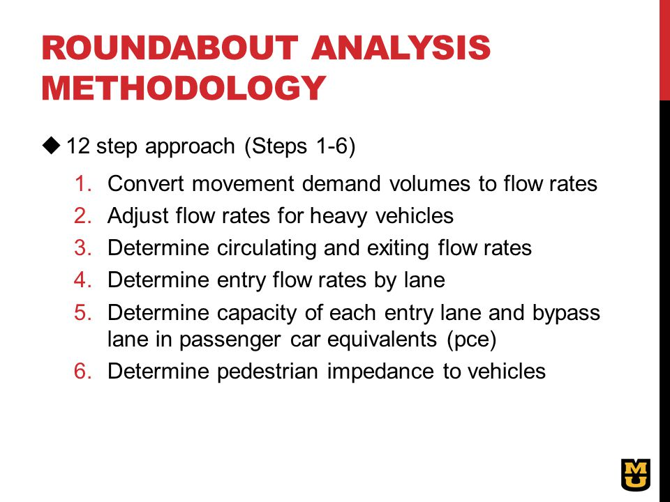 Roundabout analysis methodology