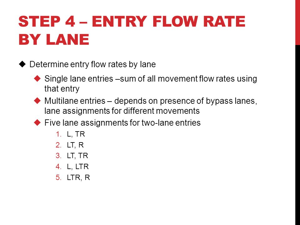 Step 4 – Entry flow rate by lane