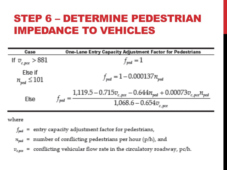 Step 6 – DETERMINE PEDESTRIAN IMPEDANCE TO VEHICLES