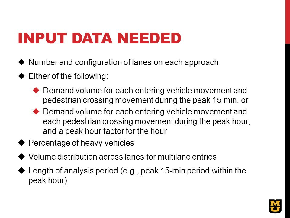 Input data needed Number and configuration of lanes on each approach