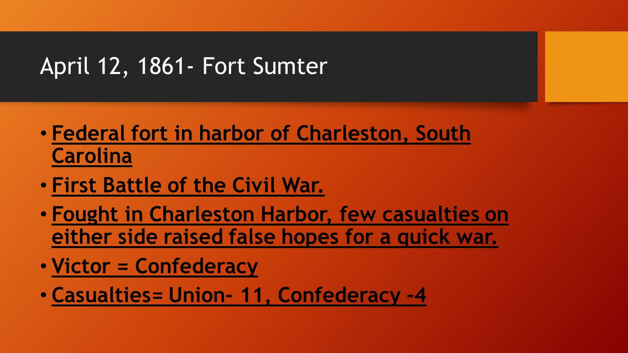 April 12, 1861- Fort Sumter Federal fort in harbor of Charleston, South Carolina. First Battle of the Civil War.