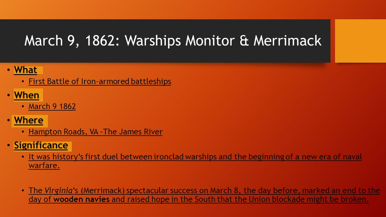 March 9, 1862: Warships Monitor & Merrimack