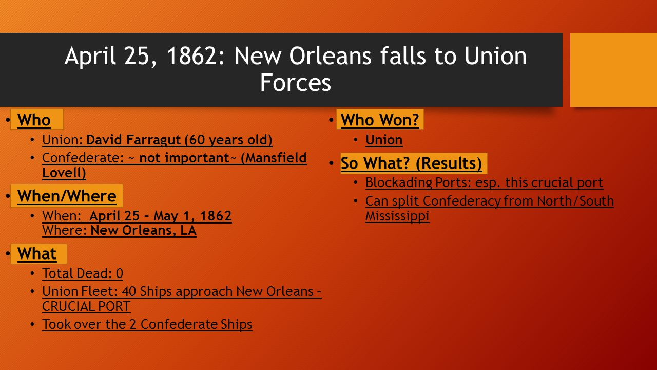 April 25, 1862: New Orleans falls to Union Forces