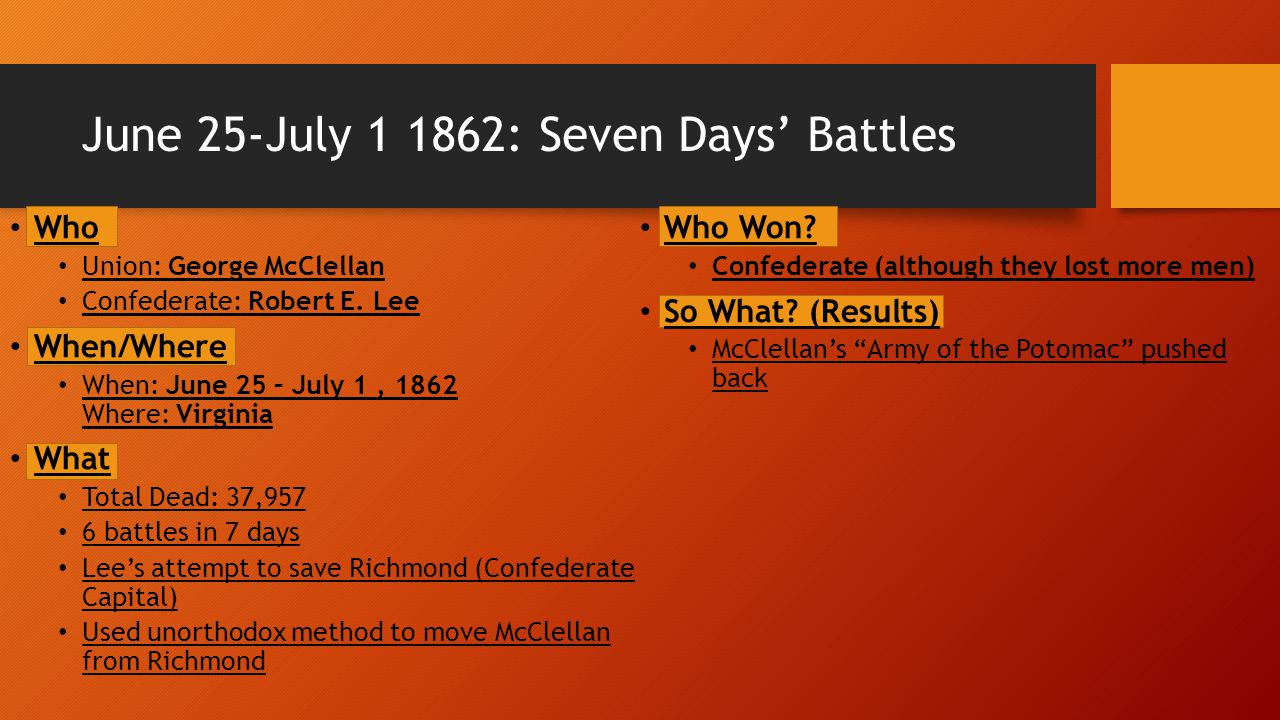 June 25-July 1 1862: Seven Days' Battles