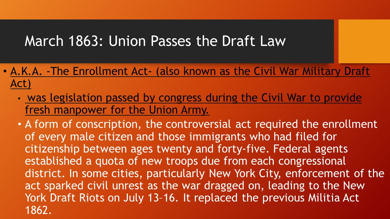 March 1863: Union Passes the Draft Law