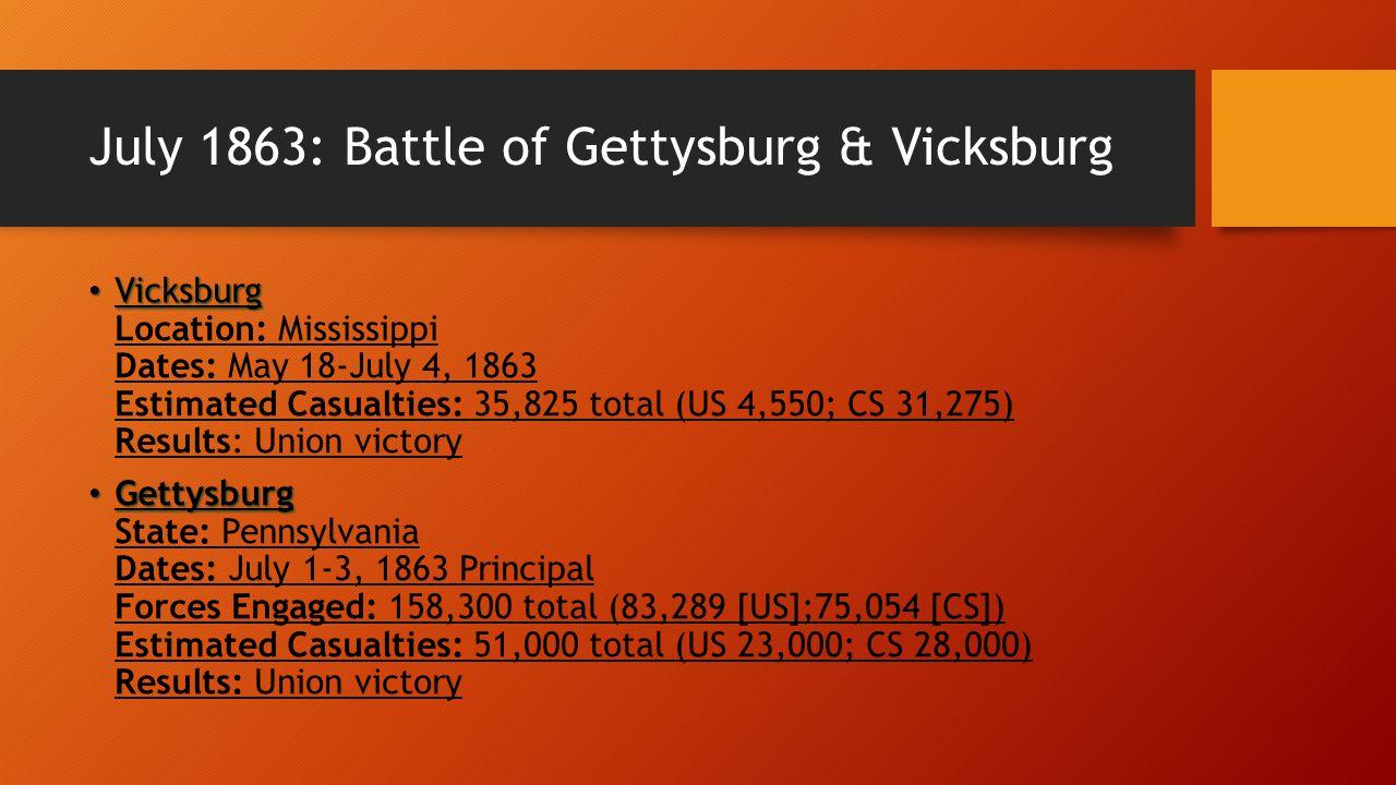 July 1863: Battle of Gettysburg & Vicksburg