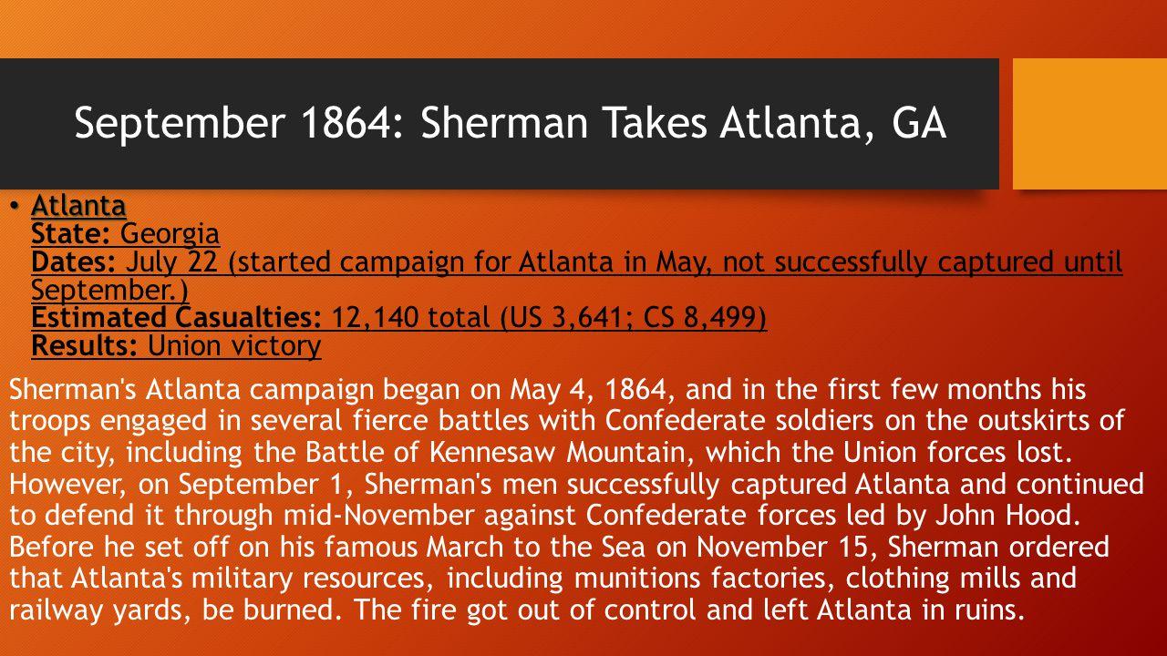 September 1864: Sherman Takes Atlanta, GA