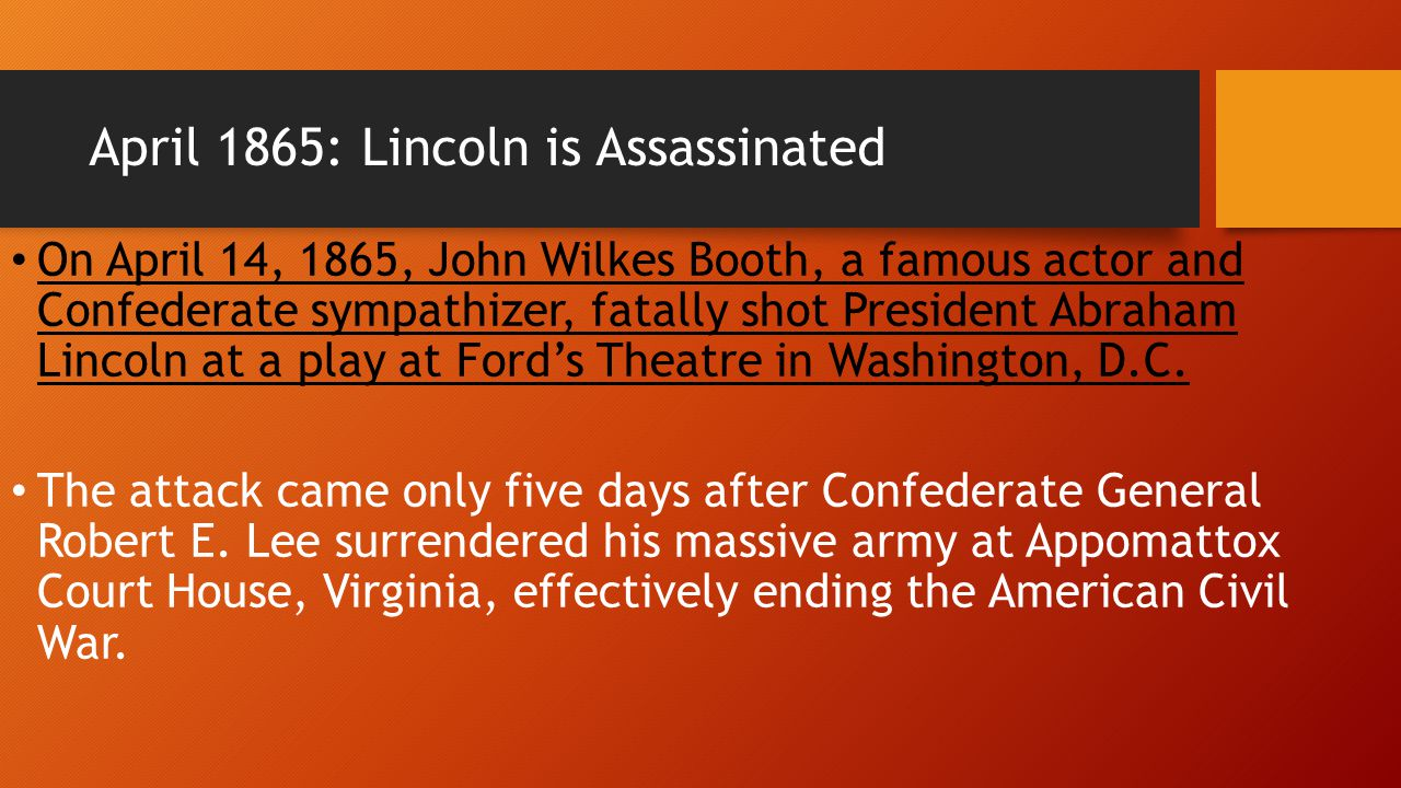 April 1865: Lincoln is Assassinated