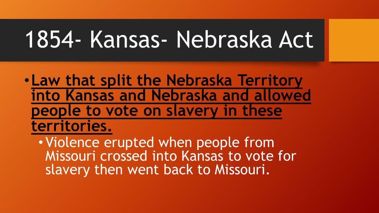 1854- Kansas- Nebraska Act