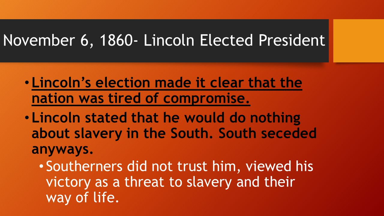 November 6, 1860- Lincoln Elected President