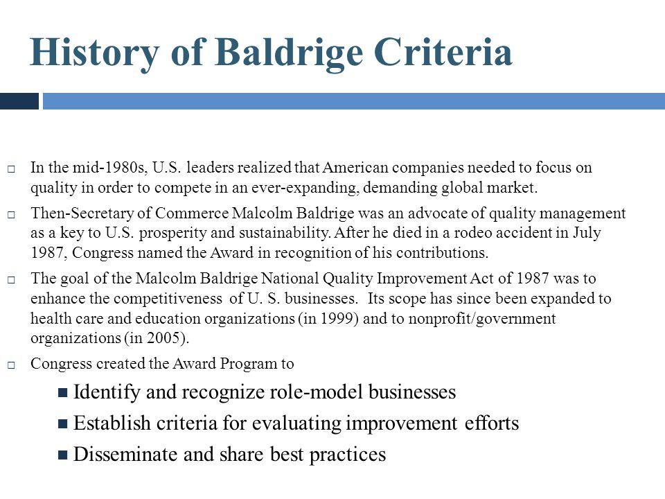 History of Baldrige Criteria