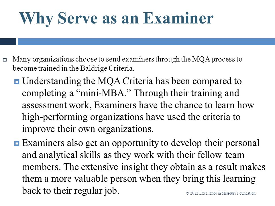 Why Serve as an Examiner