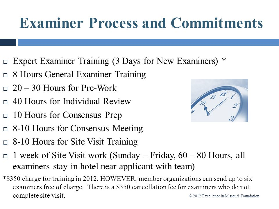 Examiner Process and Commitments