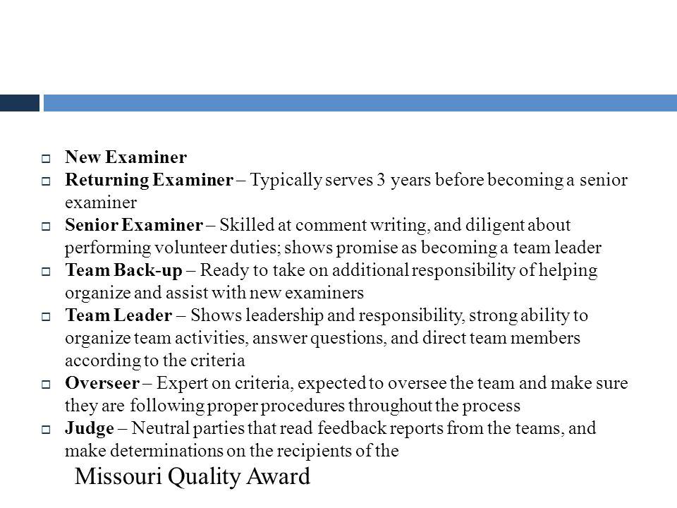 Examiner Hierarchy Missouri Quality Award New Examiner