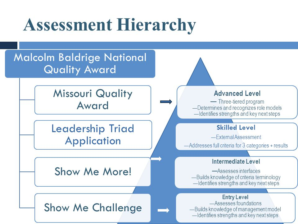 Assessment Hierarchy Malcolm Baldrige National Quality Award