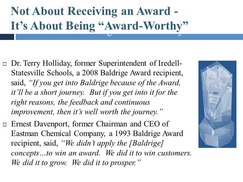 Not About Receiving an Award – It's About Being Award-Worthy