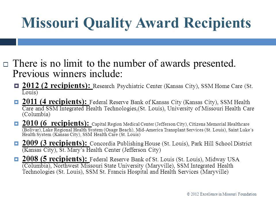 Missouri Quality Award Recipients