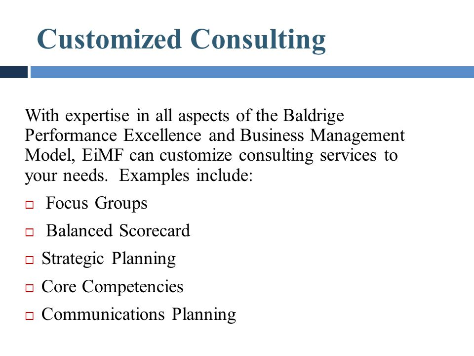 Customized Consulting