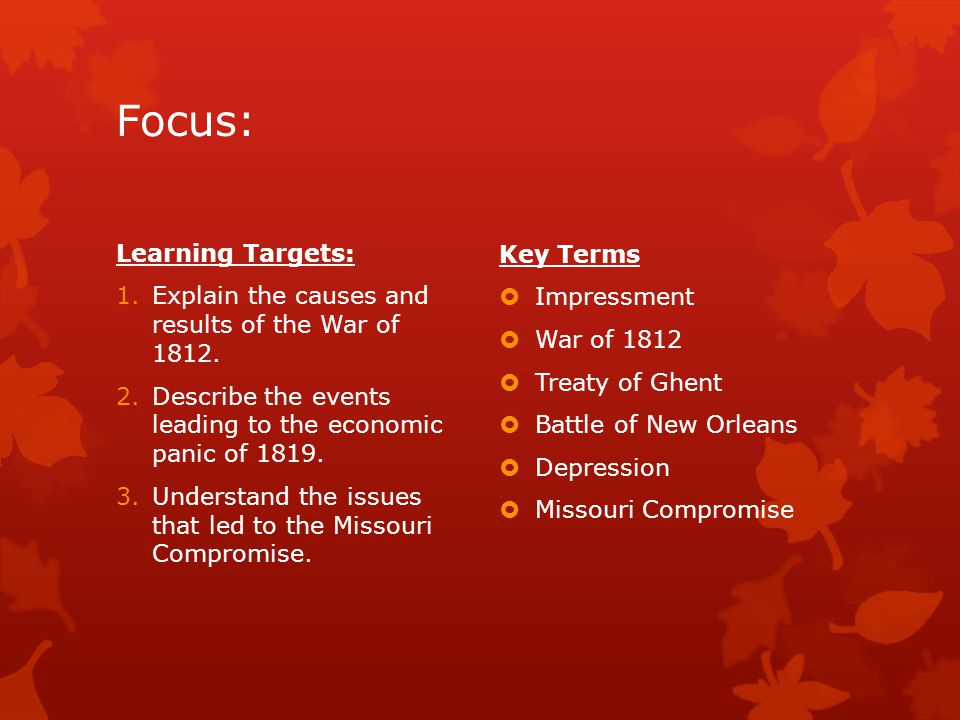 Focus: Learning Targets: