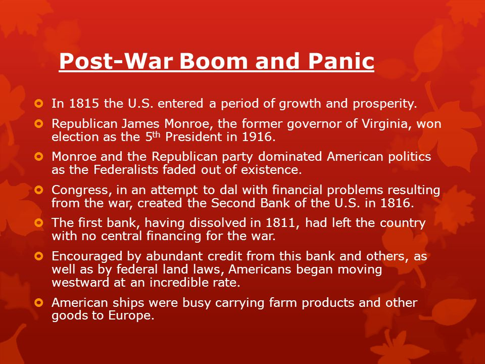 Post-War Boom and Panic