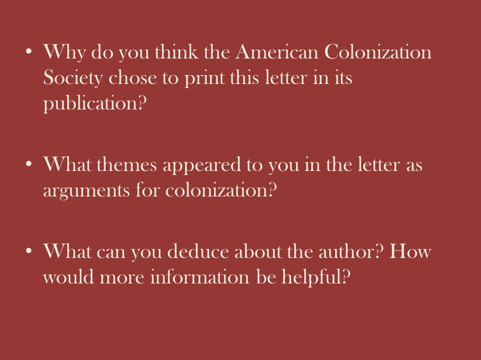 Why do you think the American Colonization Society chose to print this letter in its publication
