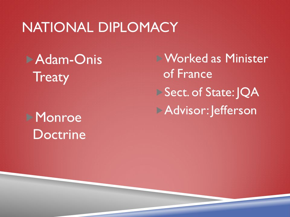National diplomacy Adam-Onis Treaty Monroe Doctrine