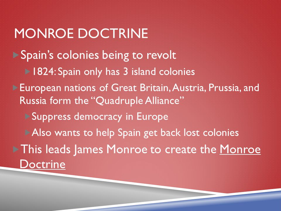 Monroe Doctrine Spain's colonies being to revolt