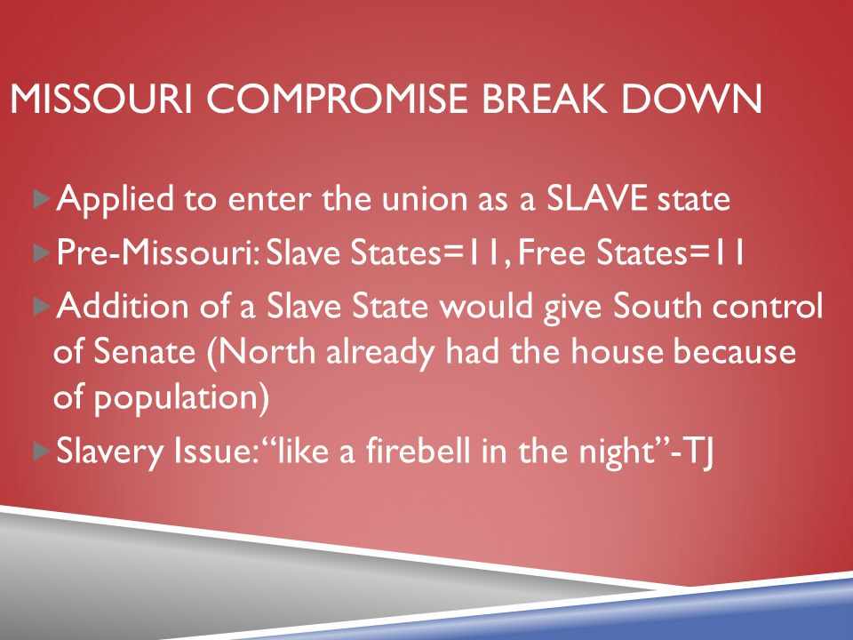 Missouri compromise break down