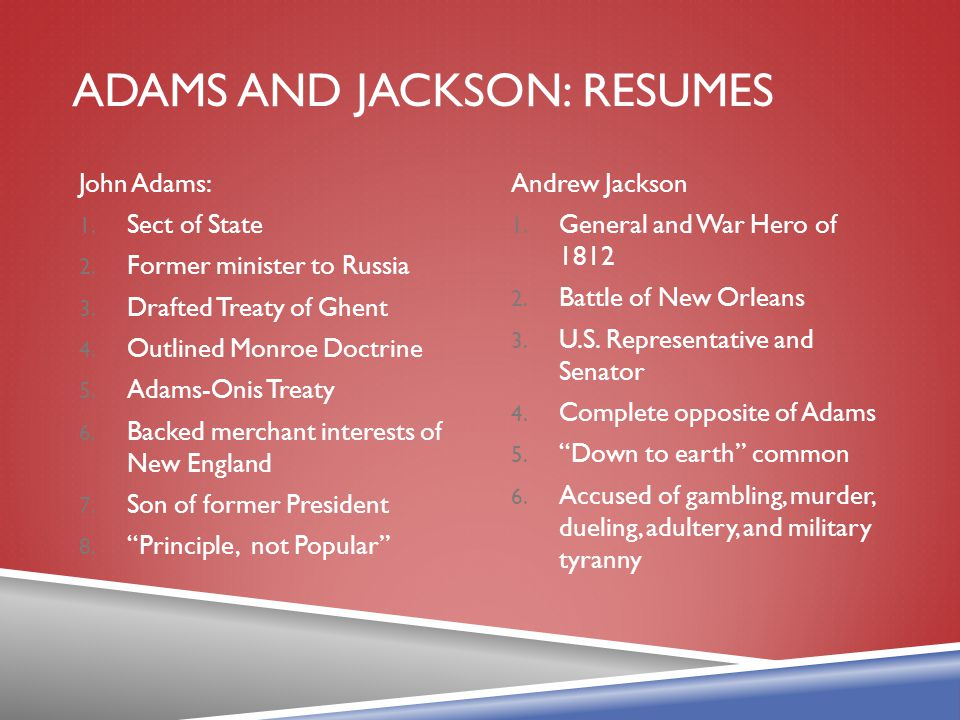 Adams and Jackson: Resumes