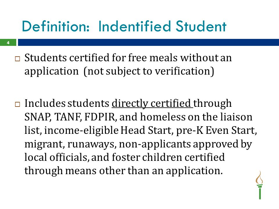 Definition: Indentified Student
