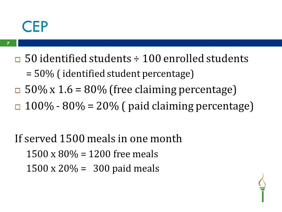 CEP 50 identified students ÷ 100 enrolled students