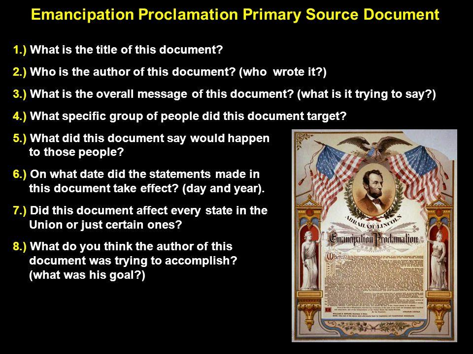 Emancipation Proclamation Pri-Source Document Cont.