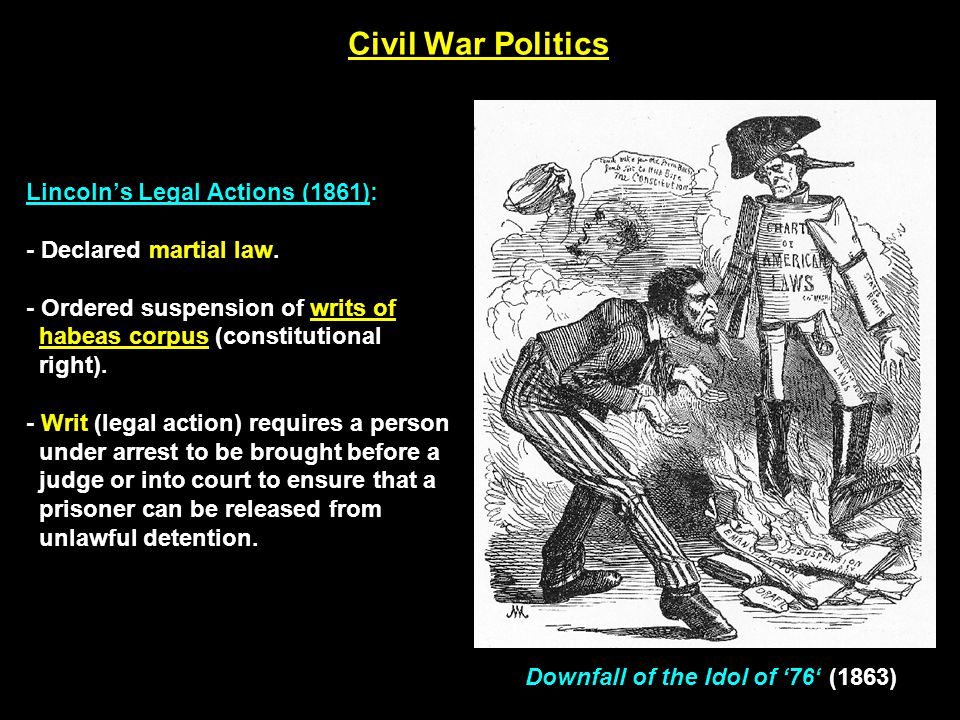Civil War Politics Not all northerners were in favor of war with the South…