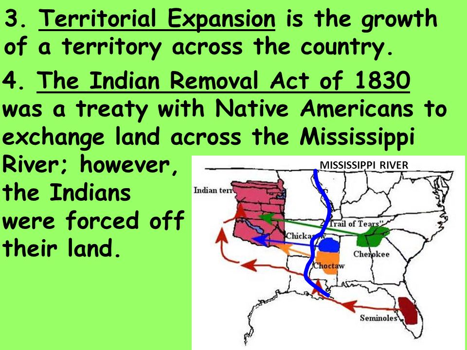 3. Territorial Expansion is the growth of a territory across the country.