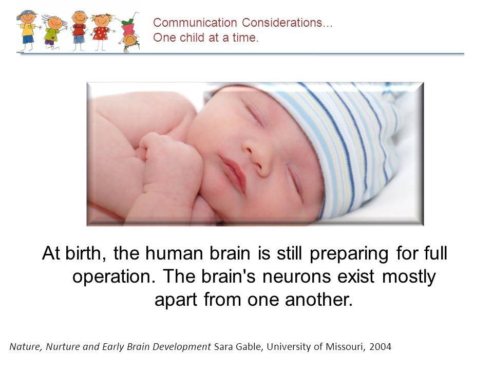 At birth, the human brain is still preparing for full operation