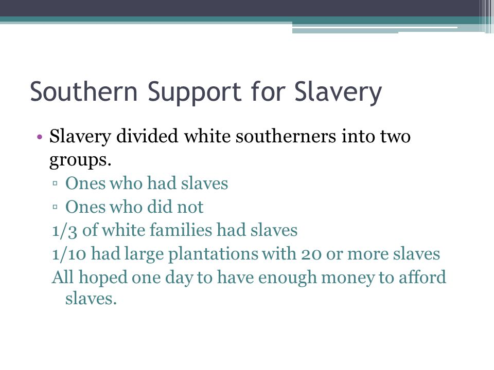Southern Support for Slavery