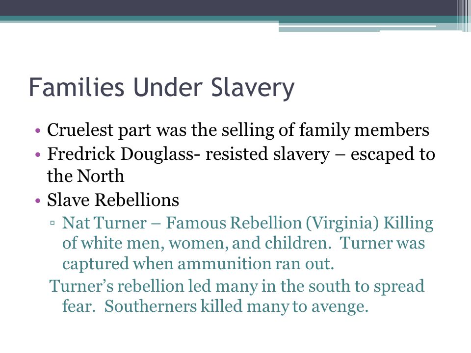 Families Under Slavery