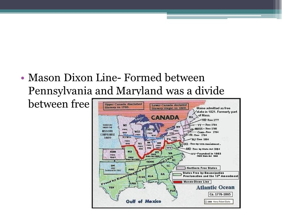 Mason Dixon Line- Formed between Pennsylvania and Maryland was a divide between free and slave states.