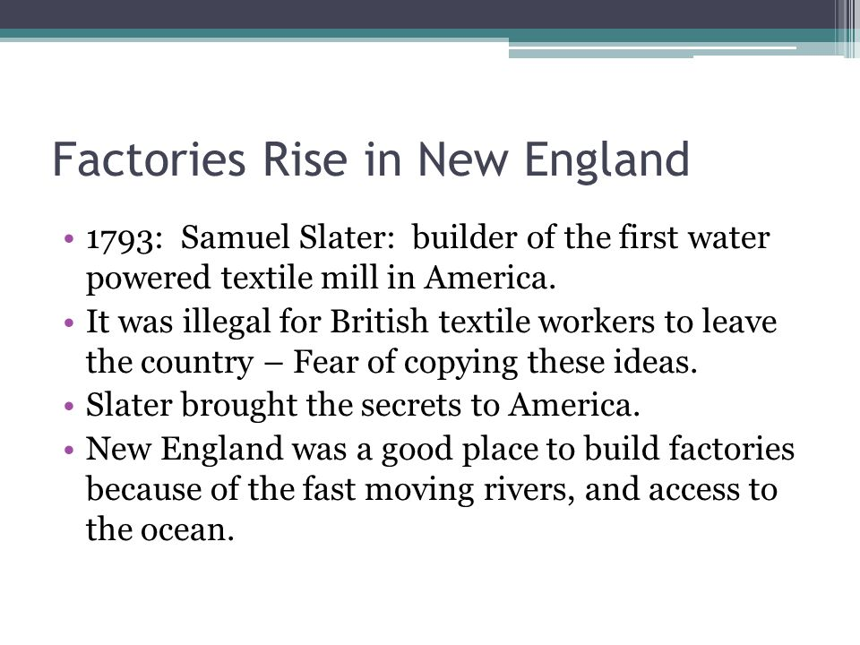 Factories Rise in New England