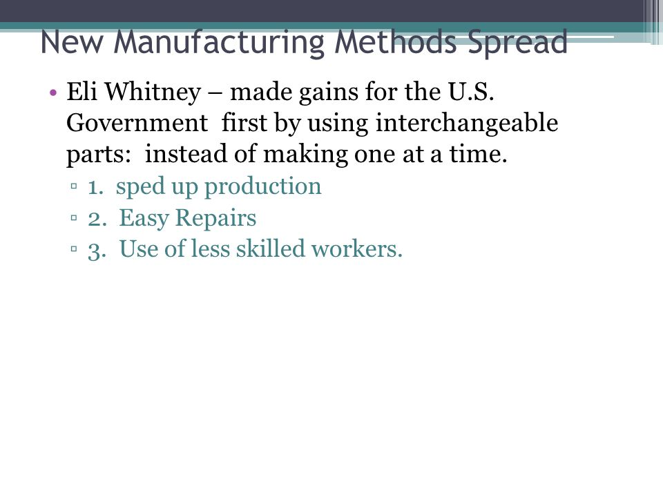New Manufacturing Methods Spread