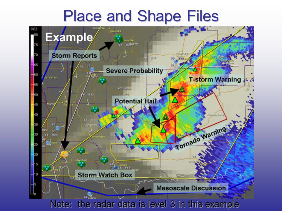 Note: the radar data is level 3 in this example