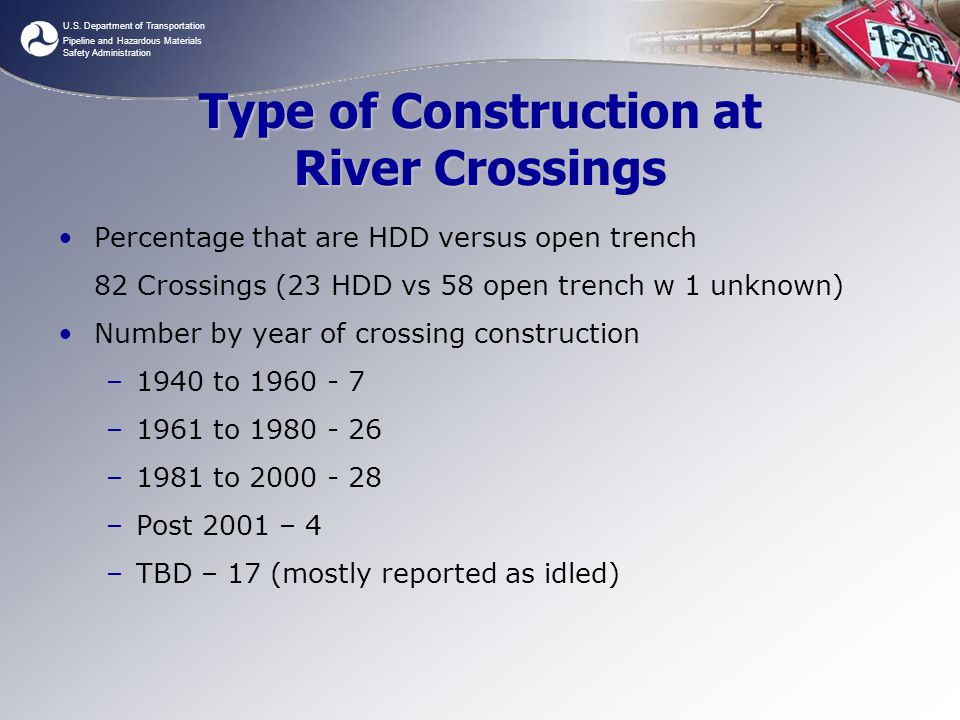 Type of Construction at River Crossings