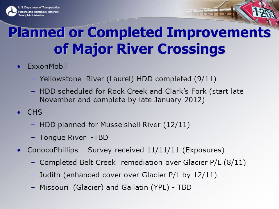 Planned or Completed Improvements of Major River Crossings