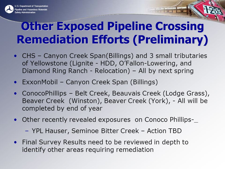 Other Exposed Pipeline Crossing Remediation Efforts (Preliminary)