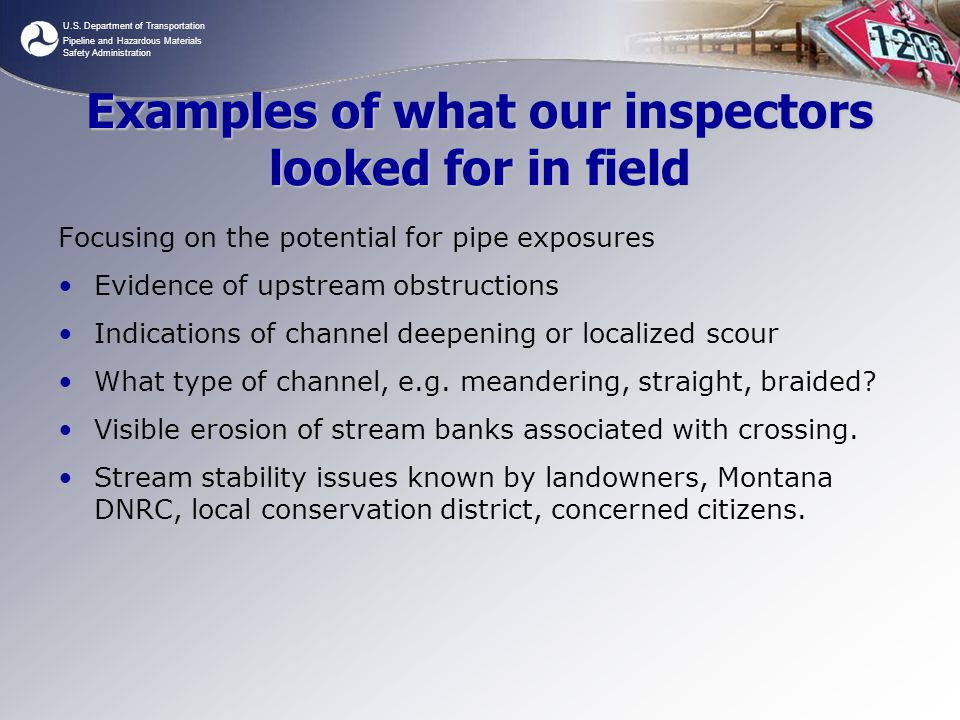 Examples of what our inspectors looked for in field