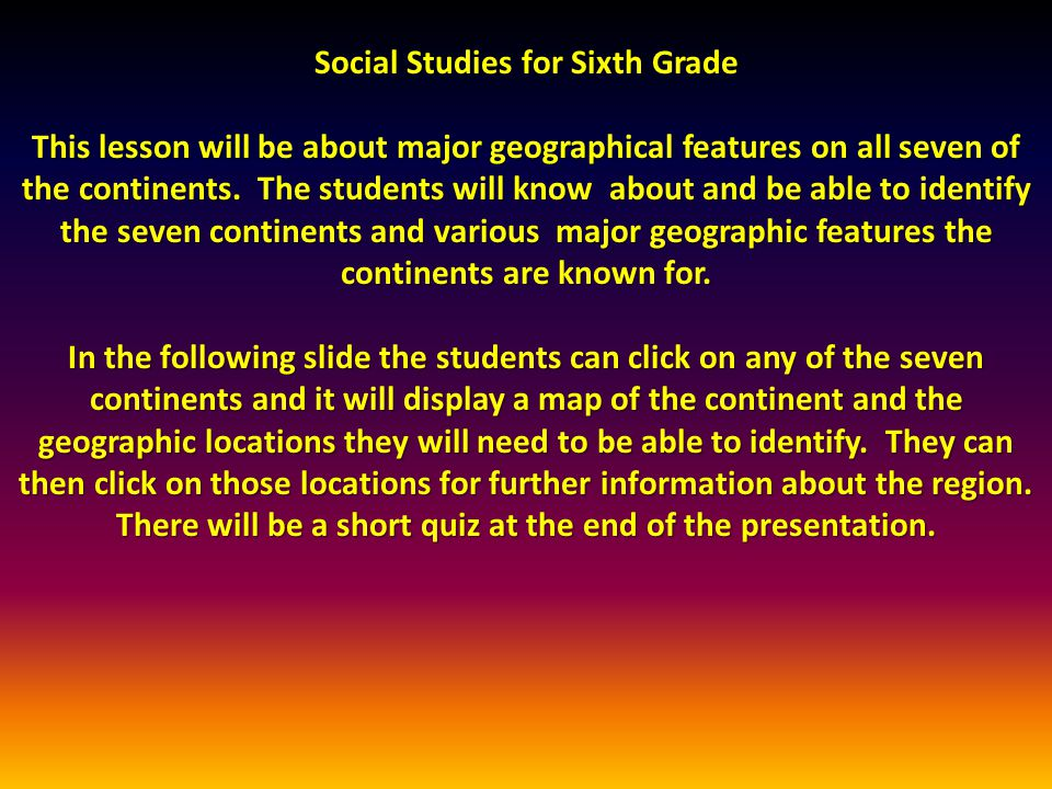 Social Studies for Sixth Grade